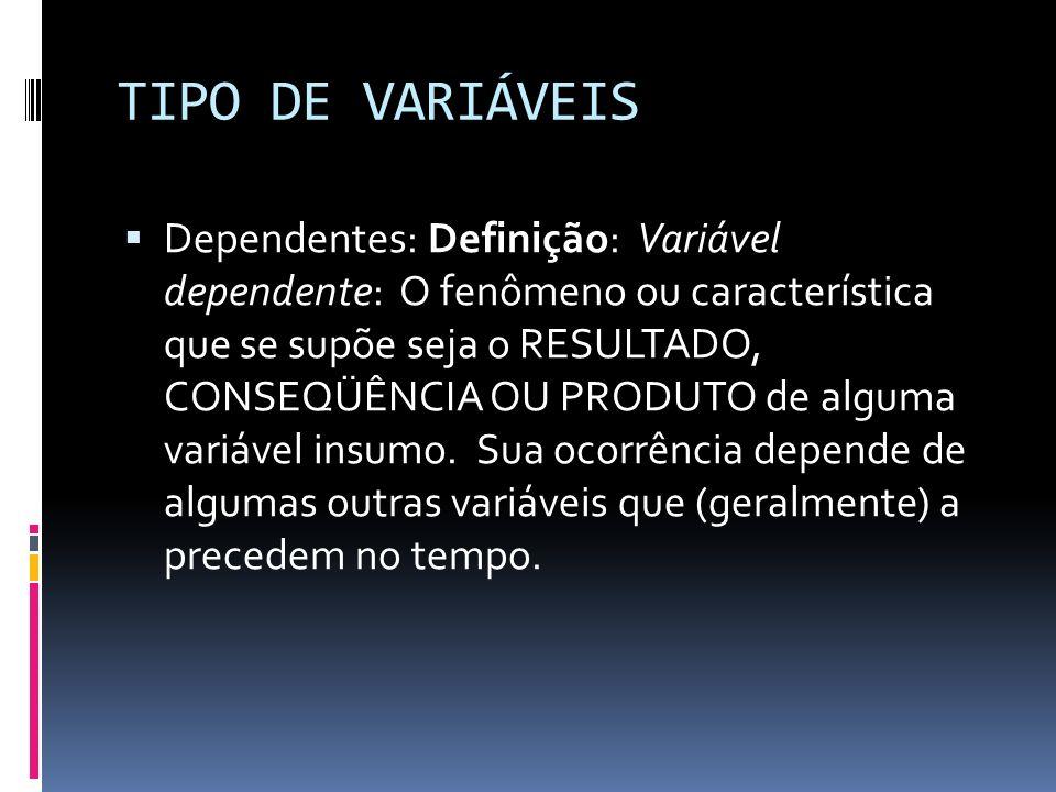 TIPO DE VARIÁVEIS Dependentes: Definição: Variável dependente: O fenômeno ou característica que se supõe seja o RESULTADO, CONSEQÜÊNCIA OU PRODUTO de