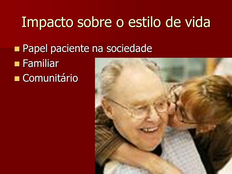 Impacto sobre o estilo de vida Papel paciente na sociedade Papel paciente na sociedade Familiar Familiar Comunitário Comunitário