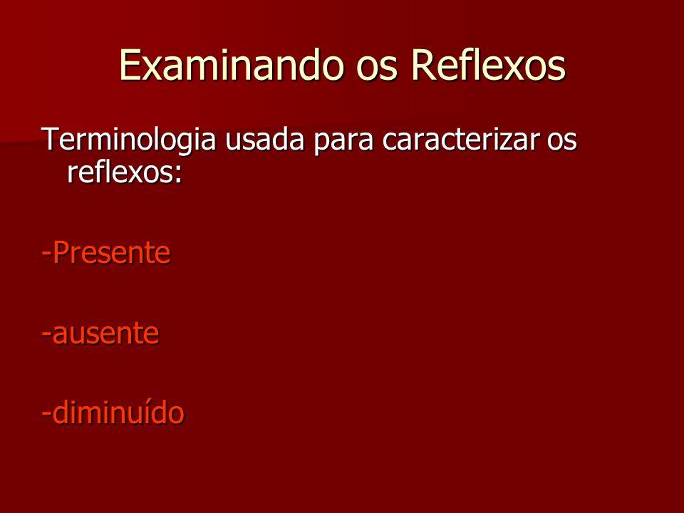 Examinando os Reflexos Terminologia usada para caracterizar os reflexos: -Presente-ausente-diminuído