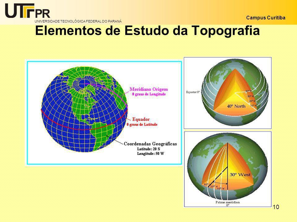UNIVERSIDADE TECNOLÓGICA FEDERAL DO PARANÁ Campus Curitiba 10 Elementos de Estudo da Topografia