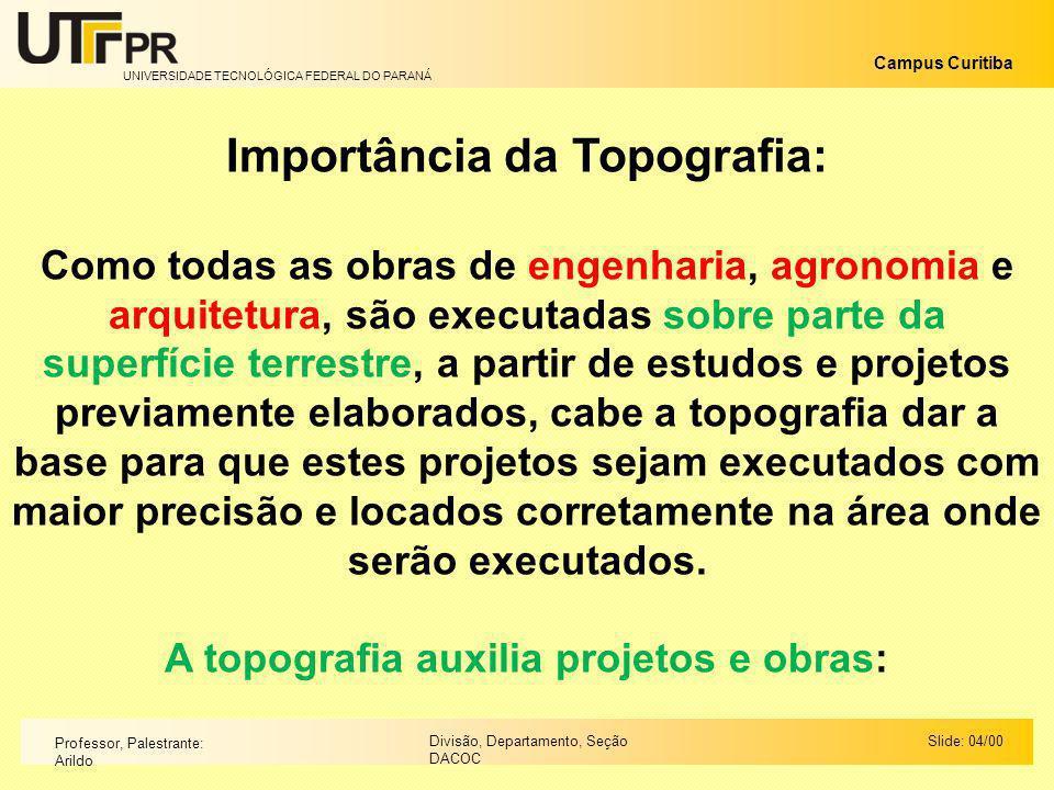 UNIVERSIDADE TECNOLÓGICA FEDERAL DO PARANÁ Campus Curitiba Slide: 04/00Divisão, Departamento, Seção DACOC Professor, Palestrante: Arildo Importância d