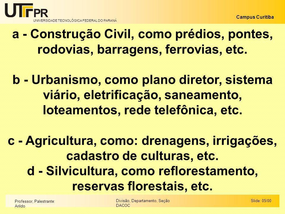 UNIVERSIDADE TECNOLÓGICA FEDERAL DO PARANÁ Campus Curitiba Slide: 05/00Divisão, Departamento, Seção DACOC Professor, Palestrante: Arildo a - Construçã