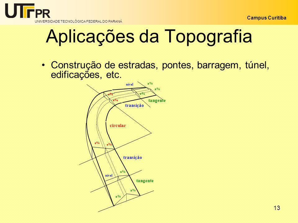 UNIVERSIDADE TECNOLÓGICA FEDERAL DO PARANÁ Campus Curitiba 13 Aplicações da Topografia Construção de estradas, pontes, barragem, túnel, edificações, e