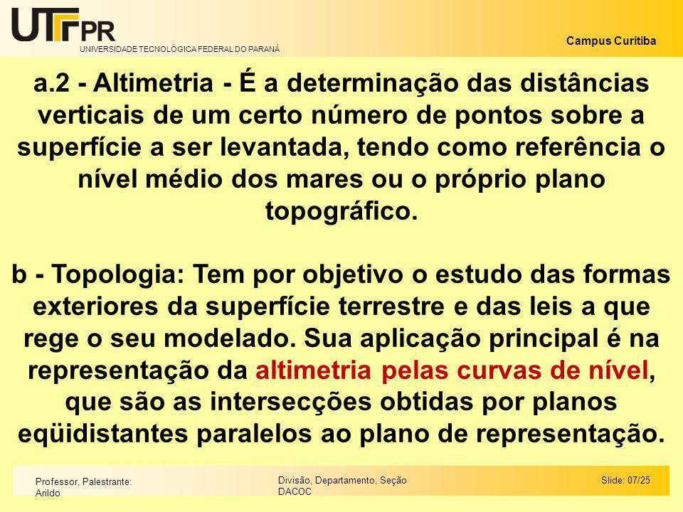 UNIVERSIDADE TECNOLÓGICA FEDERAL DO PARANÁ Campus Curitiba Slide: 07/25Divisão, Departamento, Seção DACOC Professor, Palestrante: Arildo a.2 - Altimet