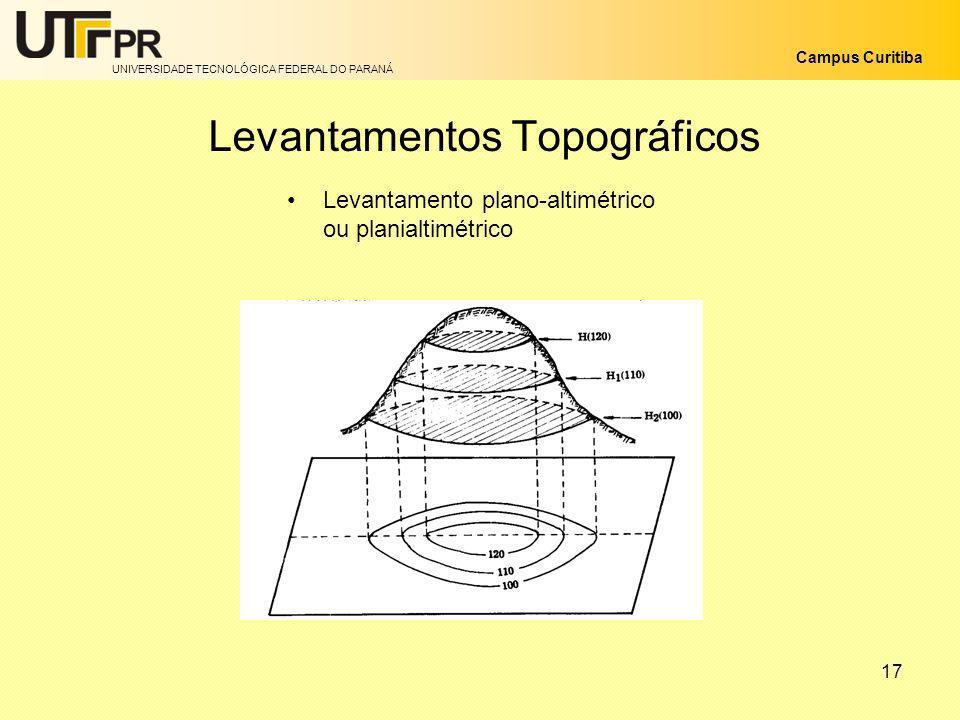 UNIVERSIDADE TECNOLÓGICA FEDERAL DO PARANÁ Campus Curitiba 17 Levantamentos Topográficos Levantamento plano-altimétrico ou planialtimétrico