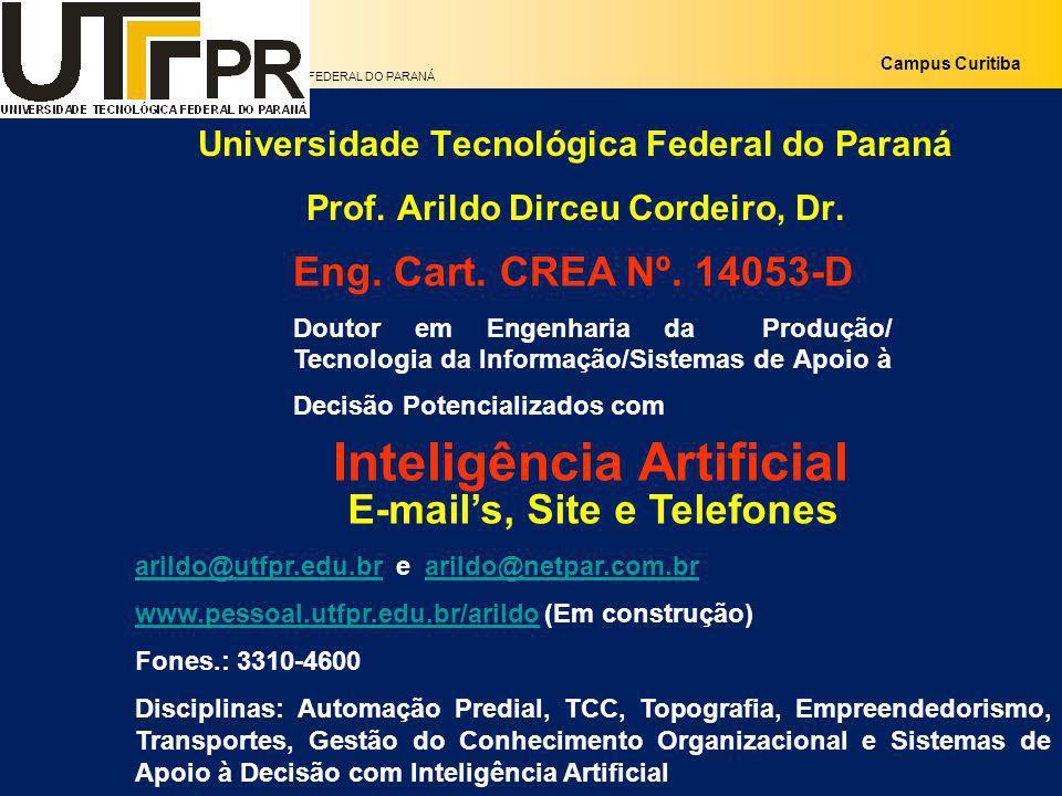 UNIVERSIDADE TECNOLÓGICA FEDERAL DO PARANÁ Campus Curitiba Universidade Tecnológica Federal do Paraná Prof. Arildo Dirceu Cordeiro, Dr. E-mails, Site