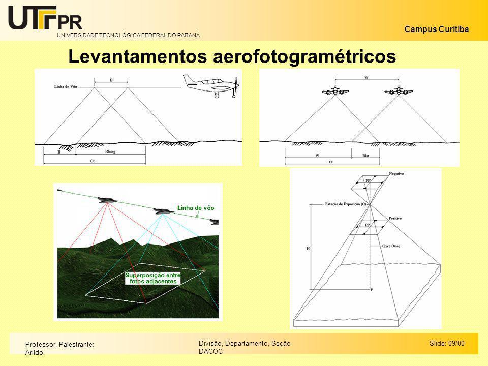 UNIVERSIDADE TECNOLÓGICA FEDERAL DO PARANÁ Campus Curitiba Slide: 09/00Divisão, Departamento, Seção DACOC Professor, Palestrante: Arildo Levantamentos