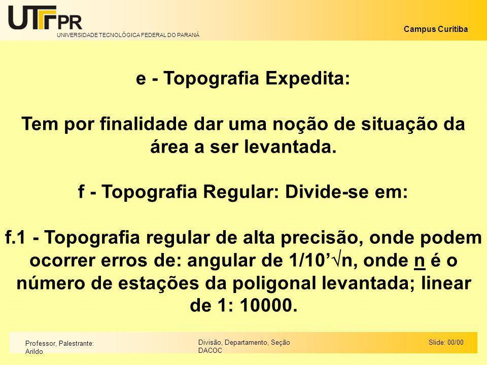 UNIVERSIDADE TECNOLÓGICA FEDERAL DO PARANÁ Campus Curitiba Slide: 00/00Divisão, Departamento, Seção DACOC Professor, Palestrante: Arildo e - Topografi
