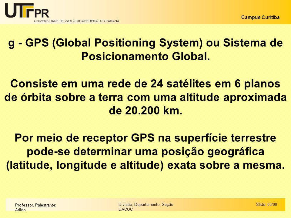 UNIVERSIDADE TECNOLÓGICA FEDERAL DO PARANÁ Campus Curitiba Slide: 00/00Divisão, Departamento, Seção DACOC Professor, Palestrante: Arildo g - GPS (Glob