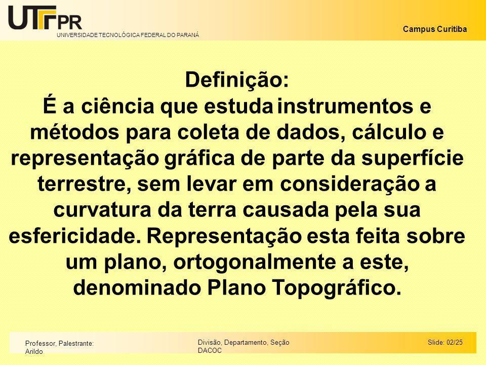 UNIVERSIDADE TECNOLÓGICA FEDERAL DO PARANÁ Campus Curitiba Slide: 00/00Divisão, Departamento, Seção DACOC Professor, Palestrante: Arildo Ângulos Horizontais: a - Ângulo Externo (Ae): É o ângulo contado a partir do alinhamento anterior para o posterior, externamente a poligonal.