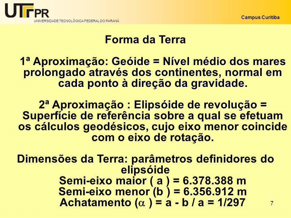 UNIVERSIDADE TECNOLÓGICA FEDERAL DO PARANÁ Campus Curitiba 7 Forma da Terra Geóide = Nível médio dos mares prolongado através dos continentes, normal