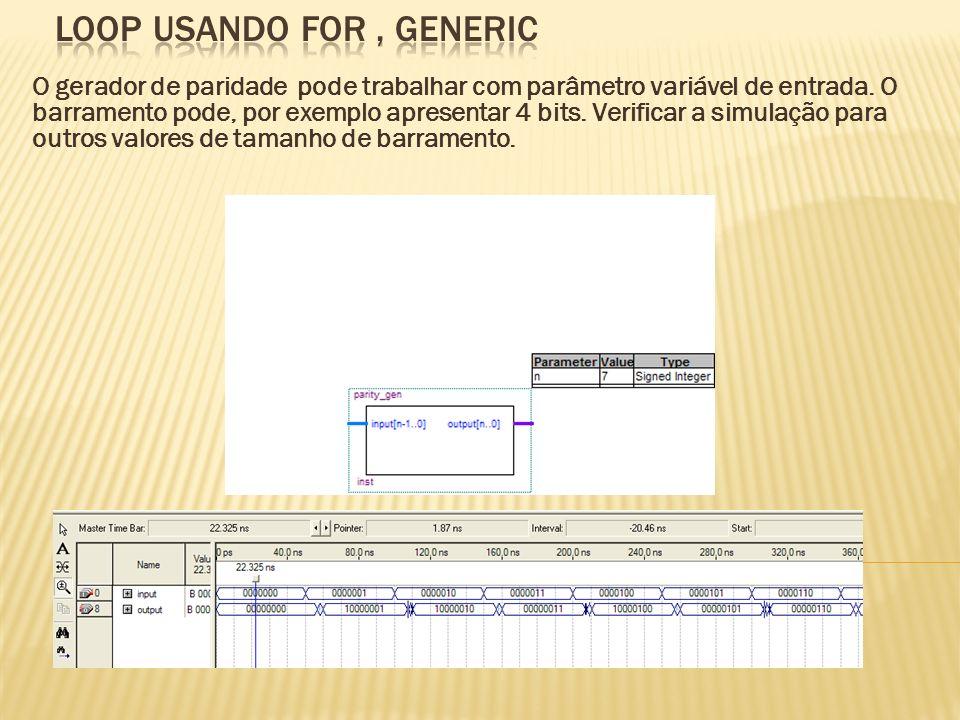 O gerador de paridade pode trabalhar com parâmetro variável de entrada. O barramento pode, por exemplo apresentar 4 bits. Verificar a simulação para o