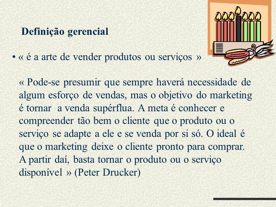 Definição de administração de marketing é o processo de planejar e executar a concepção, a determinação de preço, a promoção e a distribuição de idéias, bens e serviços para criar negociações que satisfaçam metas individuais e organizacionais.