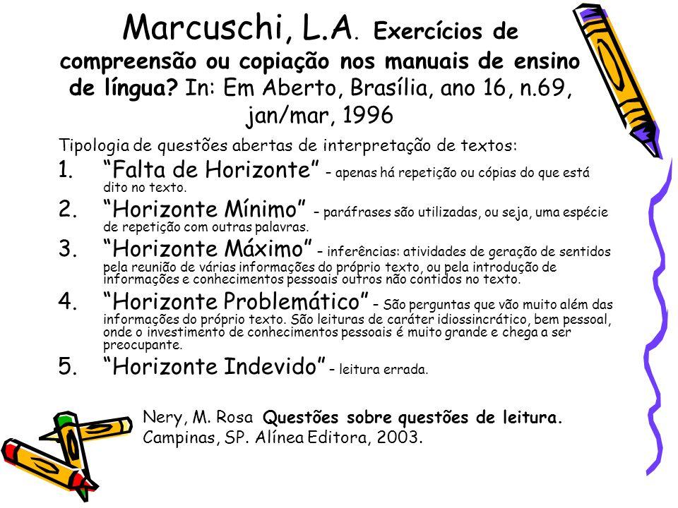 Marcuschi, L.A. Exercícios de compreensão ou copiação nos manuais de ensino de língua? In: Em Aberto, Brasília, ano 16, n.69, jan/mar, 1996 Tipologia
