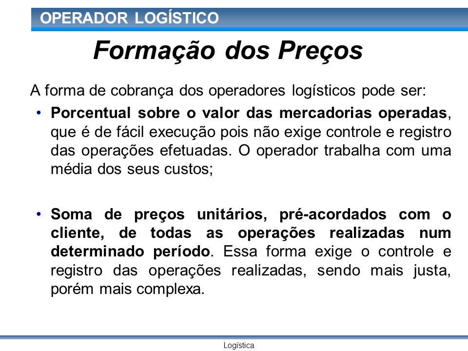 Logística OPERADOR LOGÍSTICO Formação dos Preços A forma de cobrança dos operadores logísticos pode ser: Porcentual sobre o valor das mercadorias operadas, que é de fácil execução pois não exige controle e registro das operações efetuadas.