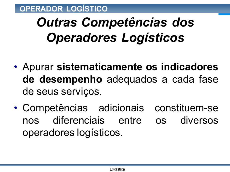Logística OPERADOR LOGÍSTICO Outras Competências dos Operadores Logísticos Apurar sistematicamente os indicadores de desempenho adequados a cada fase de seus serviços.