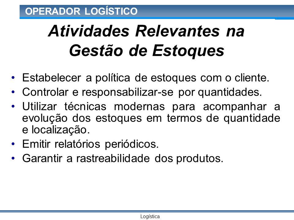 Logística OPERADOR LOGÍSTICO Atividades Relevantes na Gestão de Estoques Estabelecer a política de estoques com o cliente.