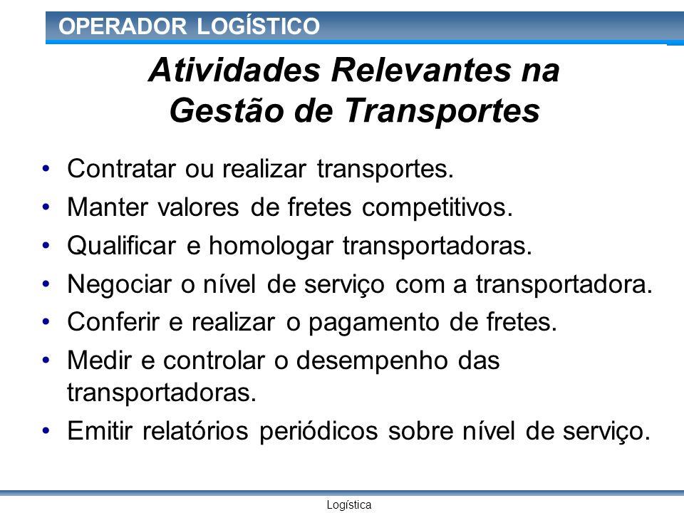 Logística OPERADOR LOGÍSTICO Atividades Relevantes na Gestão de Transportes Contratar ou realizar transportes.