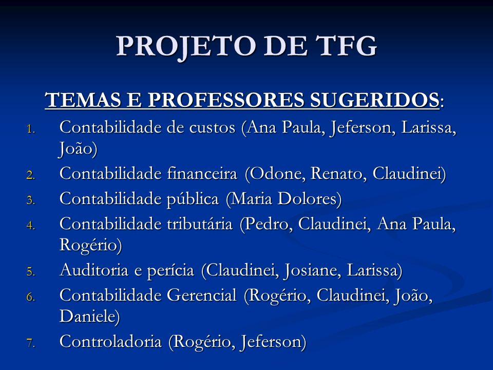 PROJETO DE TFG TEMAS E PROFESSORES SUGERIDOS: 1. Contabilidade de custos (Ana Paula, Jeferson, Larissa, João) 2. Contabilidade financeira (Odone, Rena