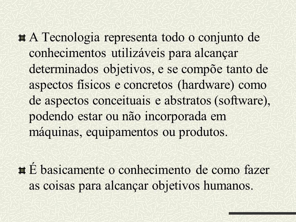 A Tecnologia representa todo o conjunto de conhecimentos utilizáveis para alcançar determinados objetivos, e se compõe tanto de aspectos físicos e con