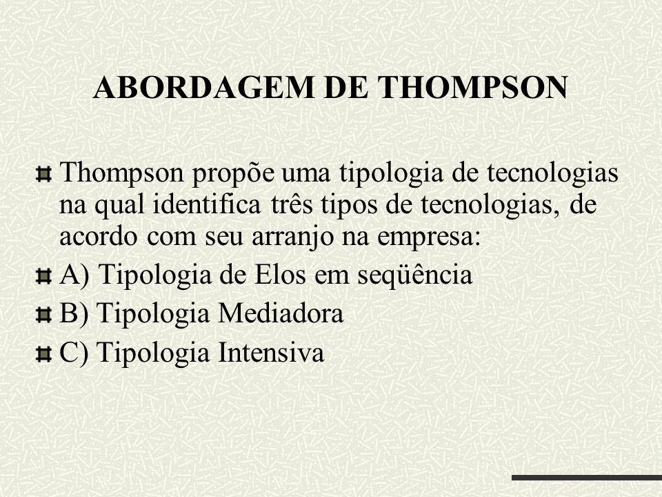 ABORDAGEM DE THOMPSON Thompson propõe uma tipologia de tecnologias na qual identifica três tipos de tecnologias, de acordo com seu arranjo na empresa: