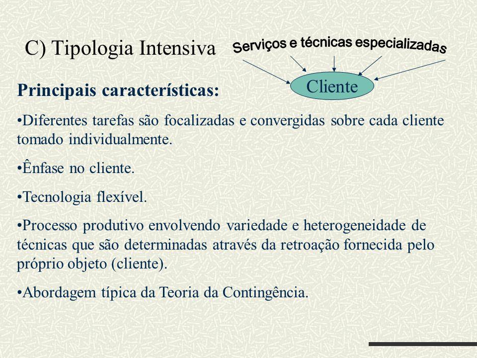 C) Tipologia Intensiva Cliente Principais características: Diferentes tarefas são focalizadas e convergidas sobre cada cliente tomado individualmente.