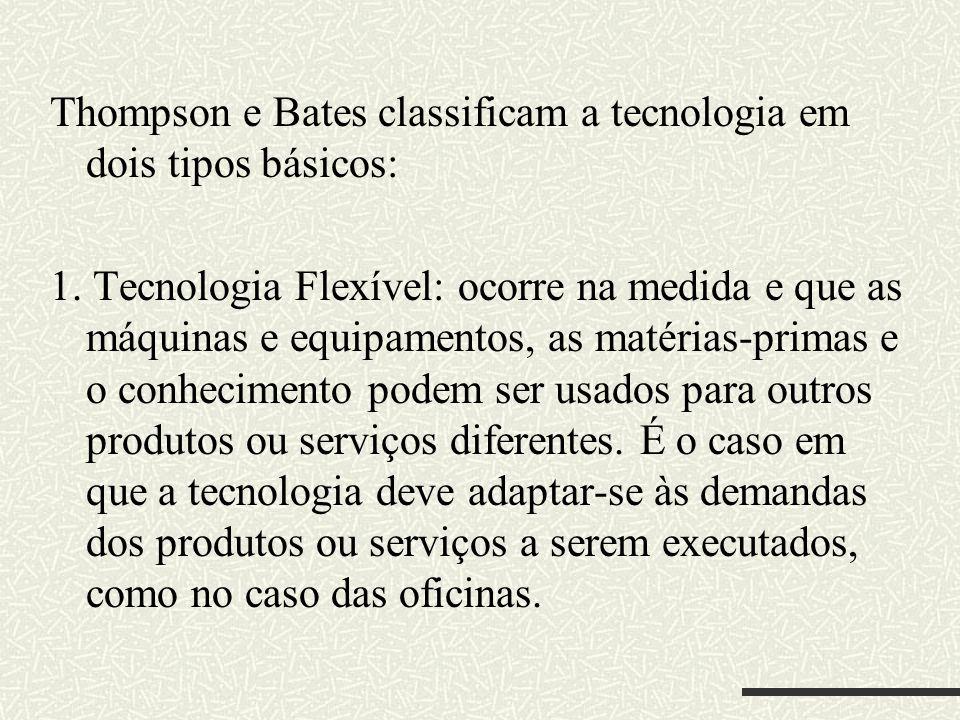 Thompson e Bates classificam a tecnologia em dois tipos básicos: 1. Tecnologia Flexível: ocorre na medida e que as máquinas e equipamentos, as matéria
