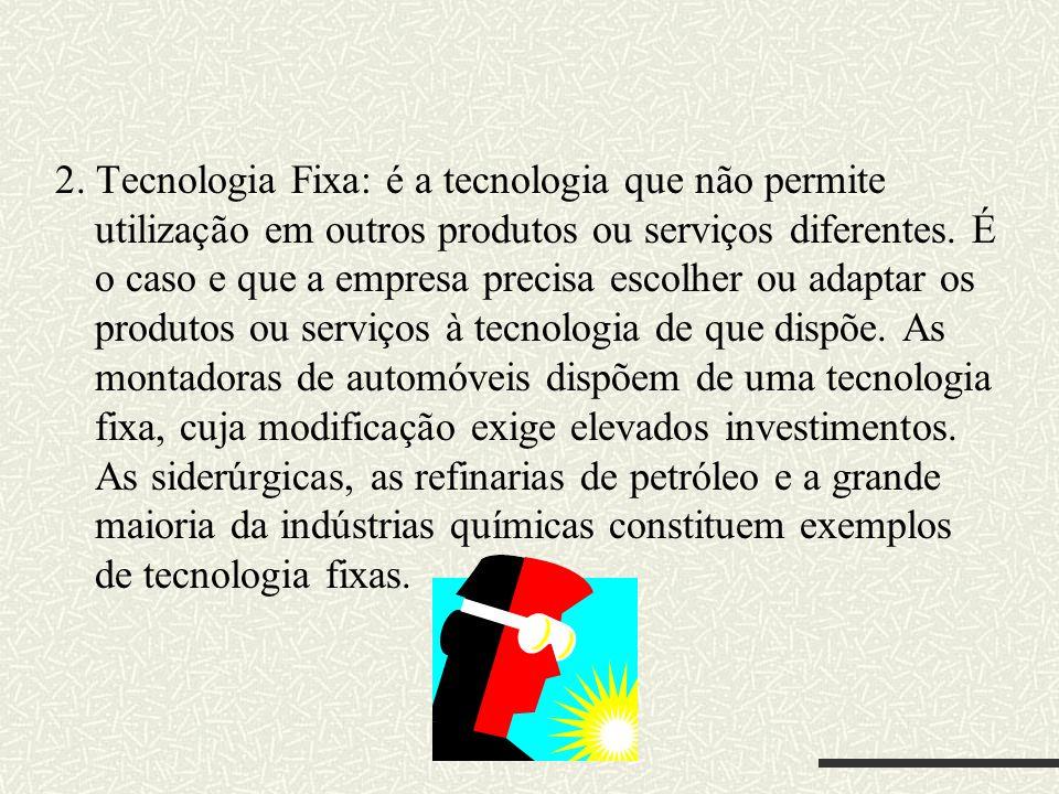 2. Tecnologia Fixa: é a tecnologia que não permite utilização em outros produtos ou serviços diferentes. É o caso e que a empresa precisa escolher ou