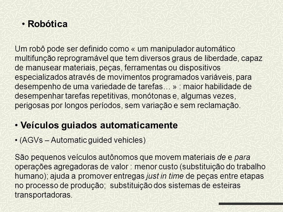 Robótica Um robô pode ser definido como « um manipulador automático multifunção reprogramável que tem diversos graus de liberdade, capaz de manusear m