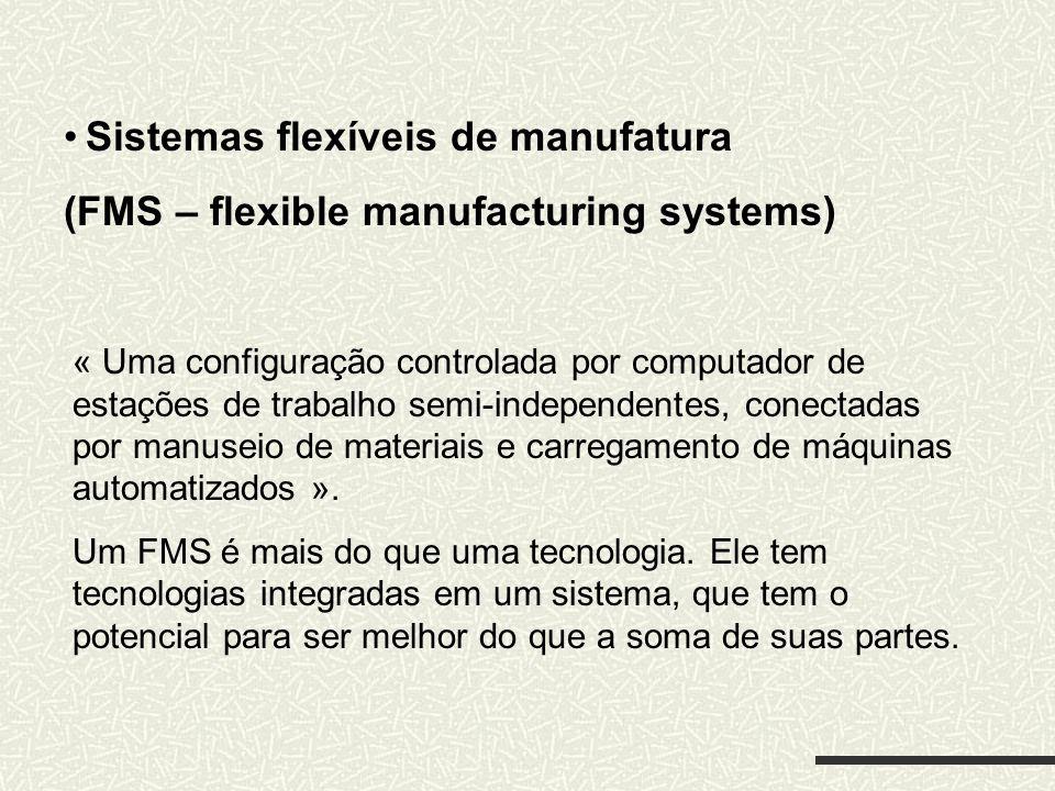 Sistemas flexíveis de manufatura (FMS – flexible manufacturing systems) « Uma configuração controlada por computador de estações de trabalho semi-inde