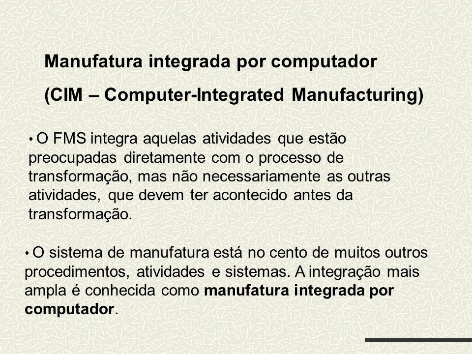 Manufatura integrada por computador (CIM – Computer-Integrated Manufacturing) O FMS integra aquelas atividades que estão preocupadas diretamente com o