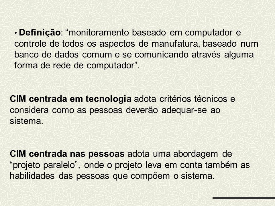 Definição: monitoramento baseado em computador e controle de todos os aspectos de manufatura, baseado num banco de dados comum e se comunicando atravé
