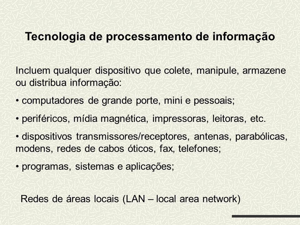 Tecnologia de processamento de informação Incluem qualquer dispositivo que colete, manipule, armazene ou distribua informação: computadores de grande