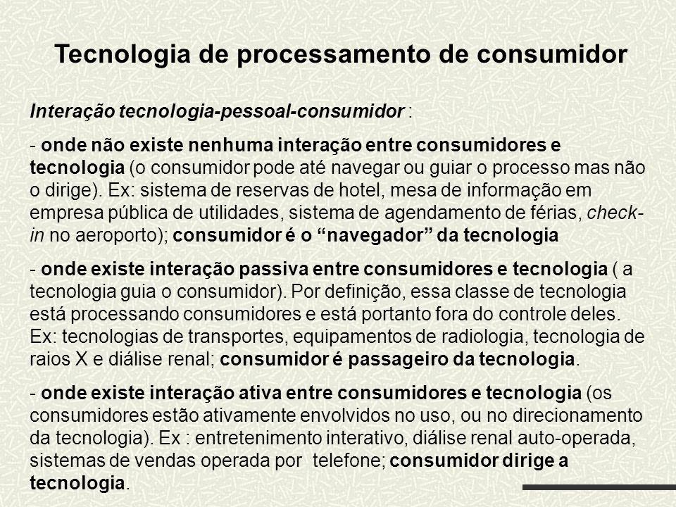 Tecnologia de processamento de consumidor Interação tecnologia-pessoal-consumidor : - onde não existe nenhuma interação entre consumidores e tecnologi