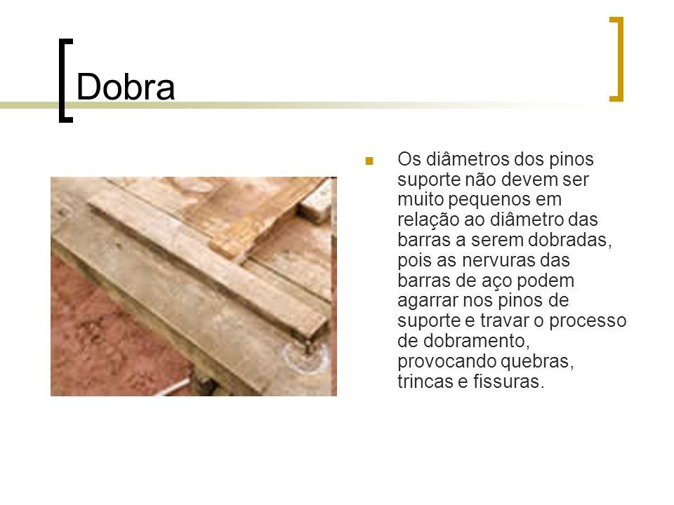 Dobra Os diâmetros dos pinos suporte não devem ser muito pequenos em relação ao diâmetro das barras a serem dobradas, pois as nervuras das barras de aço podem agarrar nos pinos de suporte e travar o processo de dobramento, provocando quebras, trincas e fissuras.