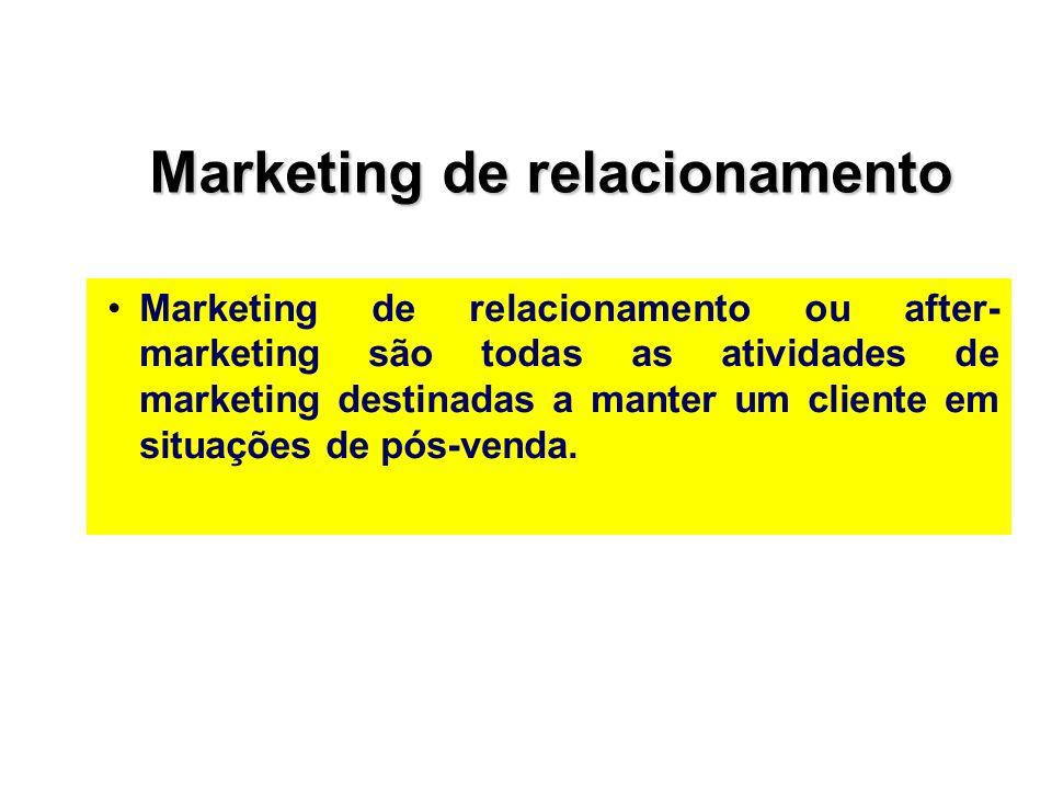 Marketing de relacionamento Marketing de relacionamento ou after- marketing são todas as atividades de marketing destinadas a manter um cliente em sit