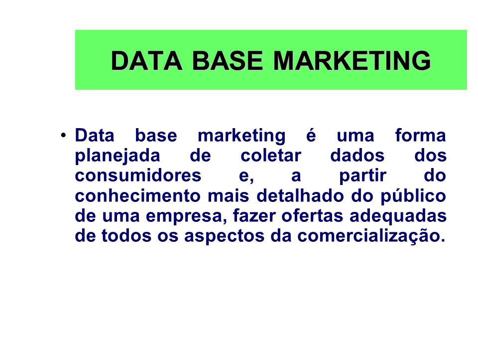 DATA BASE MARKETING Data base marketing é uma forma planejada de coletar dados dos consumidores e, a partir do conhecimento mais detalhado do público