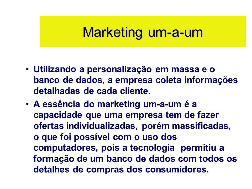 Marketing um-a-um Utilizando a personalização em massa e o banco de dados, a empresa coleta informações detalhadas de cada cliente. A essência do mark