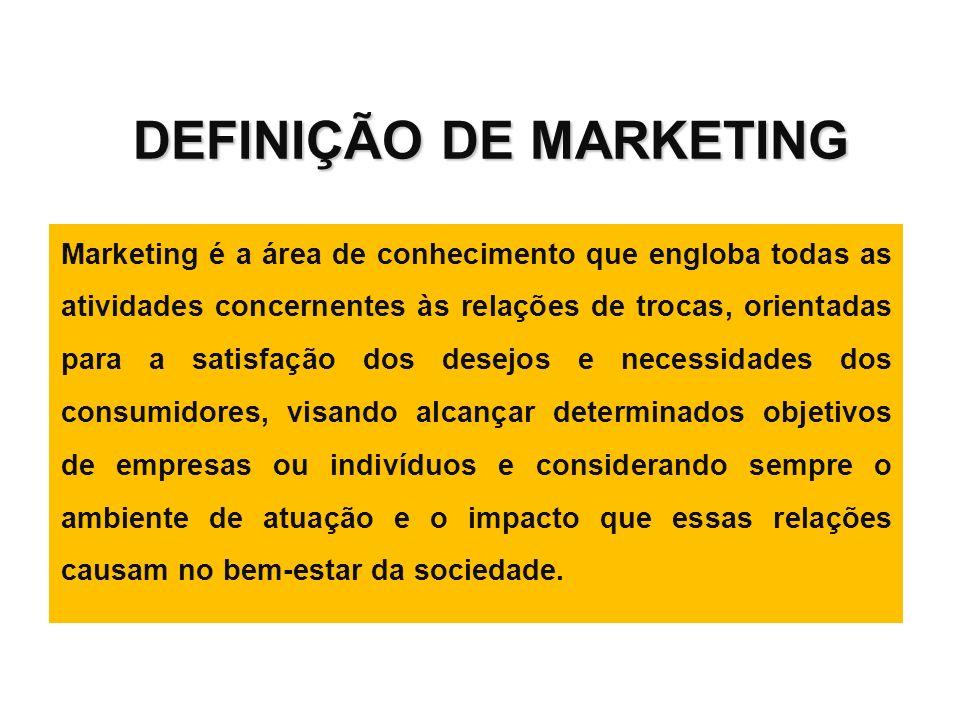 DEFINIÇÃO DE MARKETING Marketing é a área de conhecimento que engloba todas as atividades concernentes às relações de trocas, orientadas para a satisf