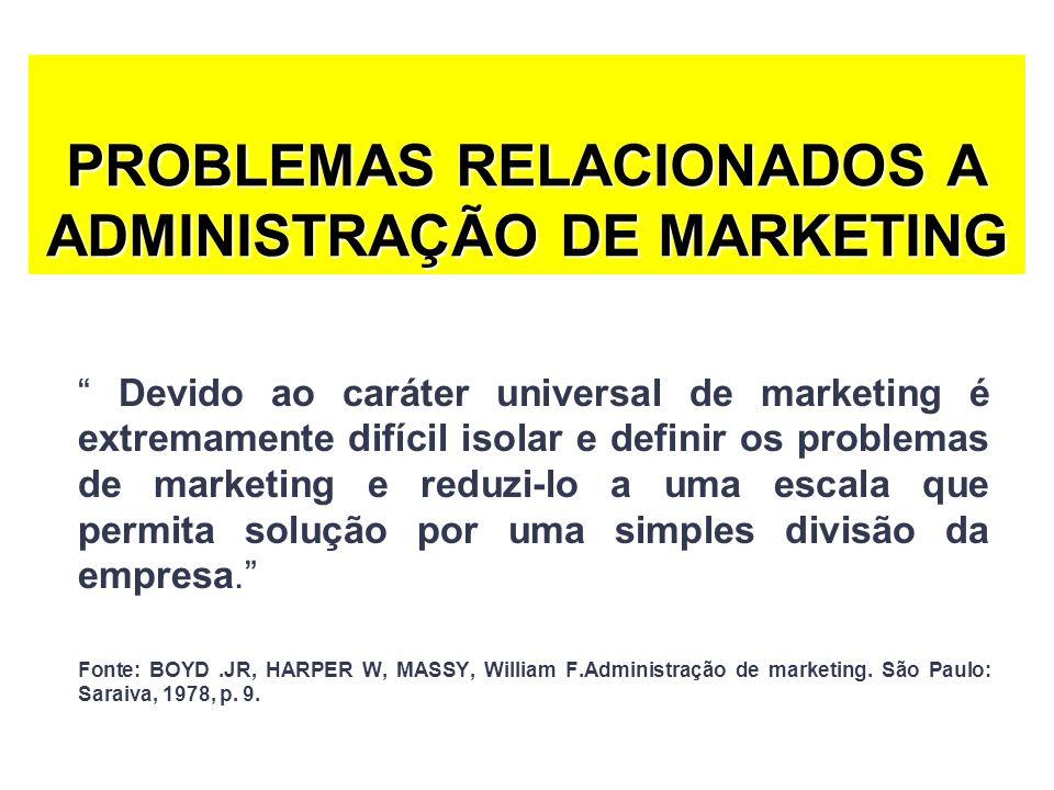 PROBLEMAS RELACIONADOS A ADMINISTRAÇÃO DE MARKETING Devido ao caráter universal de marketing é extremamente difícil isolar e definir os problemas de m