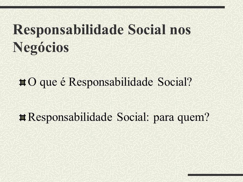 Responsabilidade Social nos Negócios O que é Responsabilidade Social.
