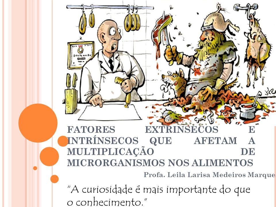 FATORES EXTRÍNSECOS E INTRÍNSECOS QUE AFETAM A MULTIPLICAÇÃO DE MICRORGANISMOS NOS ALIMENTOS Profa. Leila Larisa Medeiros Marques A curiosidade é mais