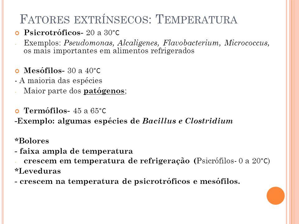 F ATORES EXTRÍNSECOS : T EMPERATURA Psicrotróficos- 20 a 30 °C - Exemplos: Pseudomonas, Alcaligenes, Flavobacterium, Micrococcus, os mais importantes