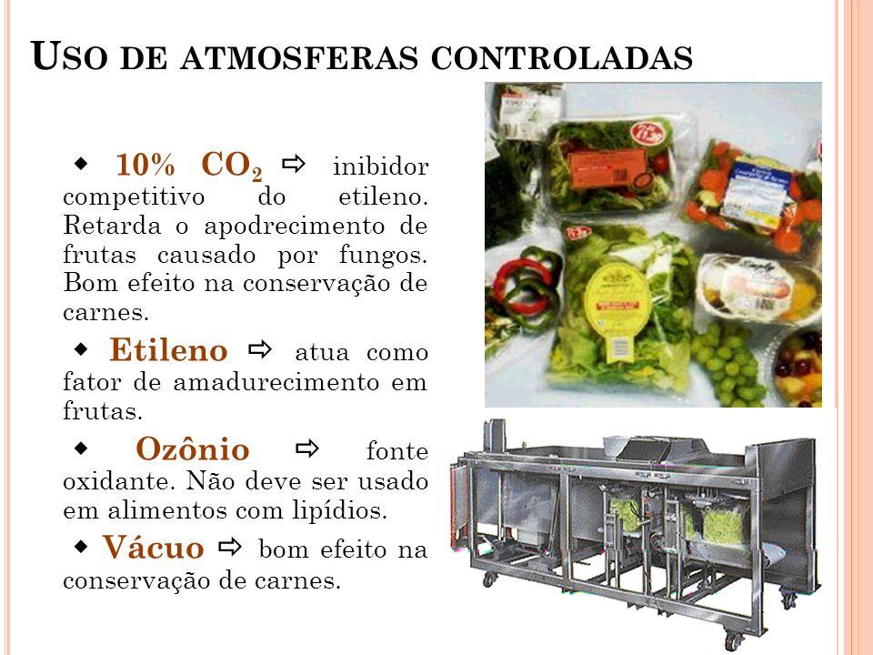 U SO DE ATMOSFERAS CONTROLADAS 10% CO 2 inibidor competitivo do etileno. Retarda o apodrecimento de frutas causado por fungos. Bom efeito na conservaç
