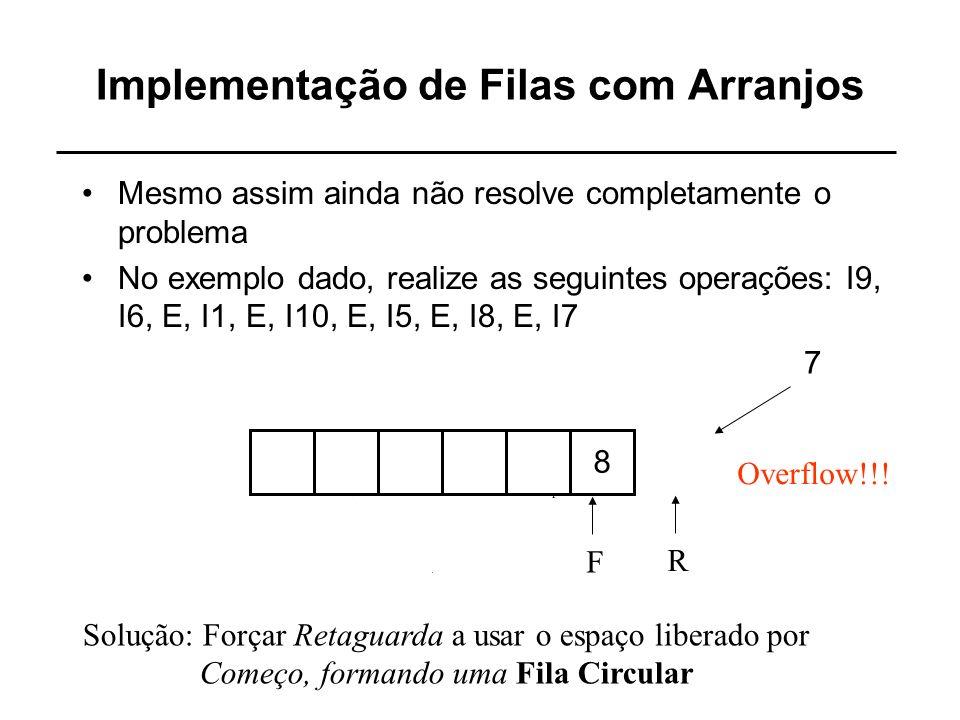 Implementação de Filas com Arranjos Mesmo assim ainda não resolve completamente o problema No exemplo dado, realize as seguintes operações: I9, I6, E,