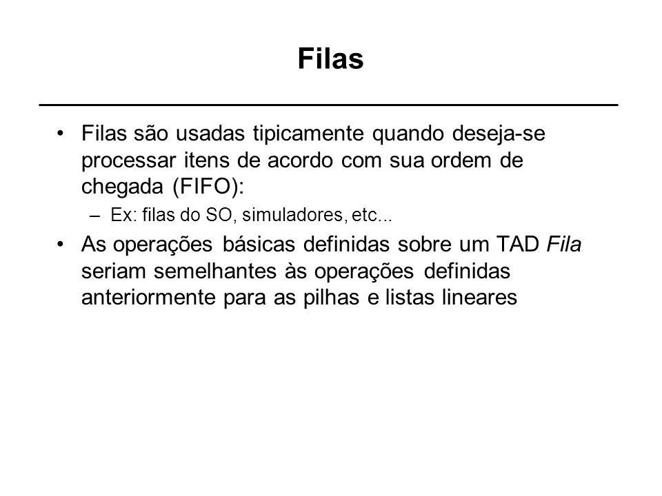 Filas Filas são usadas tipicamente quando deseja-se processar itens de acordo com sua ordem de chegada (FIFO): –Ex: filas do SO, simuladores, etc... A