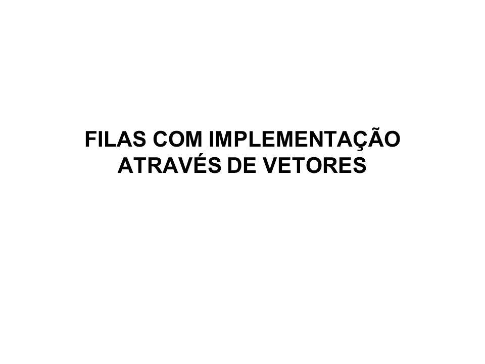 FILAS COM IMPLEMENTAÇÃO ATRAVÉS DE VETORES