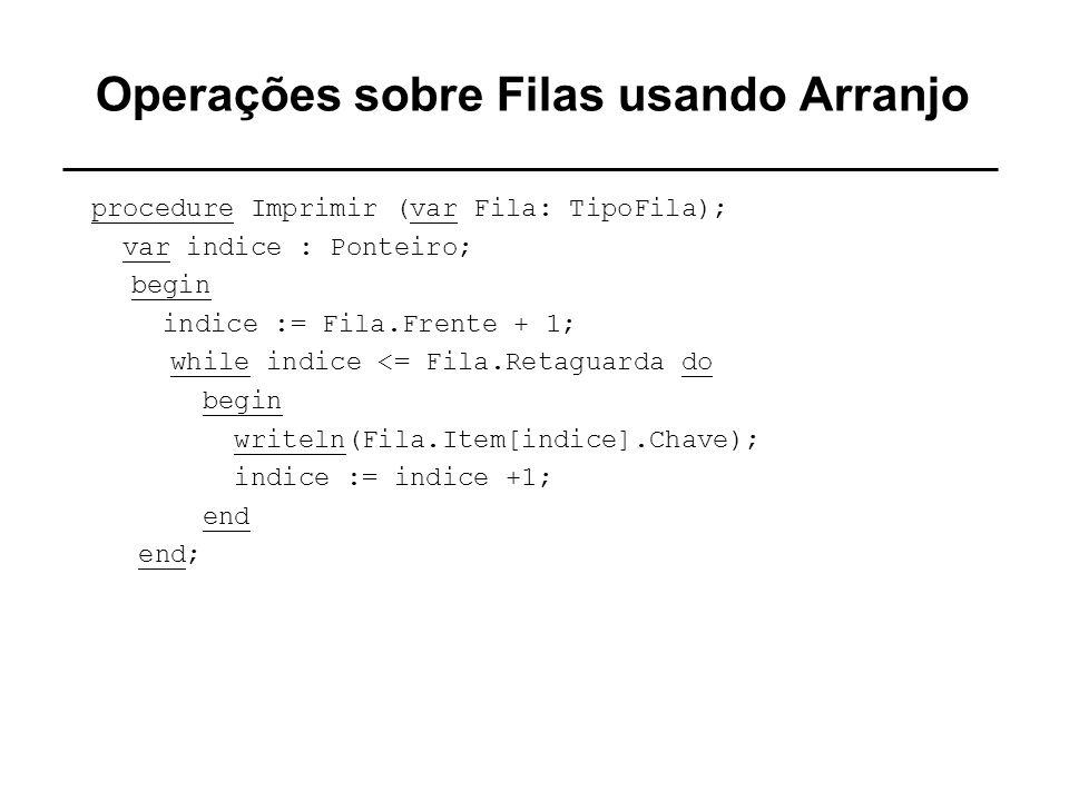 Operações sobre Filas usando Arranjo procedure Imprimir (var Fila: TipoFila); var indice : Ponteiro; begin indice := Fila.Frente + 1; while indice <=