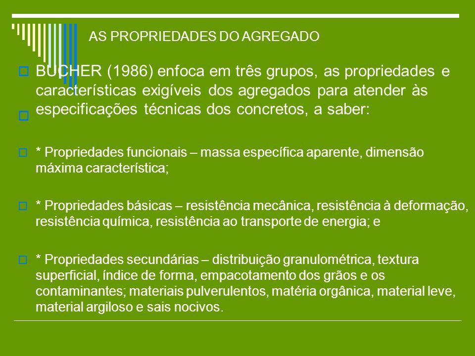 AS PROPRIEDADES DO AGREGADO BUCHER (1986) enfoca em três grupos, as propriedades e características exigíveis dos agregados para atender às especificaç