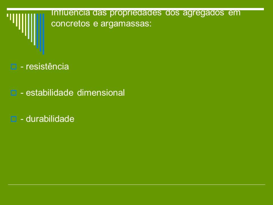 Influência das propriedades dos agregados em concretos e argamassas: - resistência - estabilidade dimensional - durabilidade
